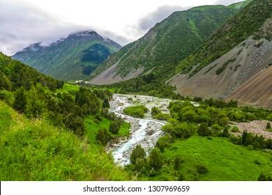 Ala Archa Alpine National Park Landscape near Bishkek with Tian Shan Mountain Range Forest River Fog