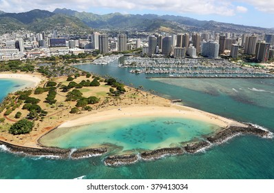 Ala Moana Beach Park- view from helicopter, Oahu, Hawaii