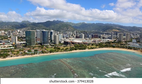 Ala Moana Beach - view from helicopter, Oahu, Hawaii