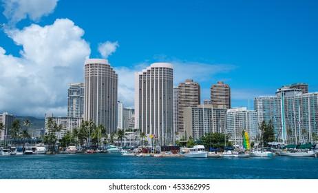 Ala Wai boat harbor near Waikiki in Honolulu, Hawaii, USA