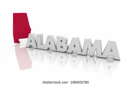 Alabama AL Red State Map Word 3d Illustration