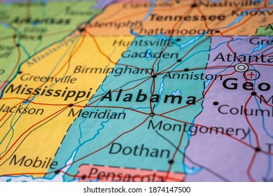Alabama on the map of USA