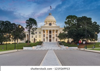 Alabama State Capitol in Montgomery at Dusk