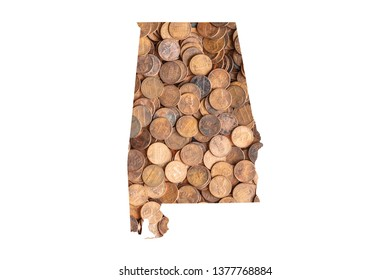 Alabama State Map and Money Concept, Piles of Coins, Pennies