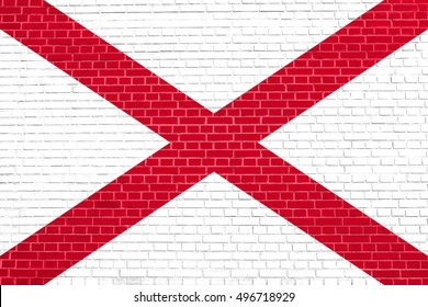 Alabamian official flag, symbol. American patriotic element. USA banner. United States of America background. Flag of the US state of Alabama on brick wall texture background
