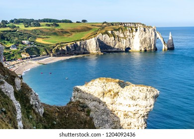 Alabaster Coast at Etretat.  Aval cliff. Normandy, France.