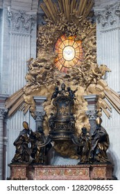 Alabaster window of the Holy Spirit as a dove above St. Peter's Chair, inside the St Peter's Basilica, Vatican City, Rome, Italy.