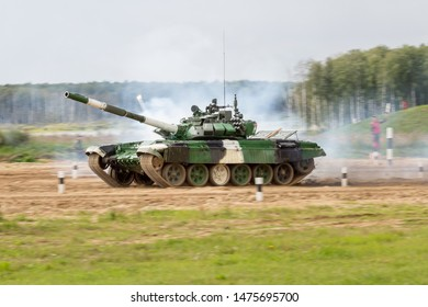 Alabino / Russia - 08 04 2019: The tank biathlon is a mechanised military sport event promoted by the Russian military with some similarities to the winter sport of biathlon