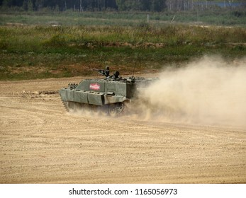 Alabino, Russia - August 2018: Russian heavy combat machine flamethrower BMO-T (Object 564) in motion during military show at the International forum Army-2018