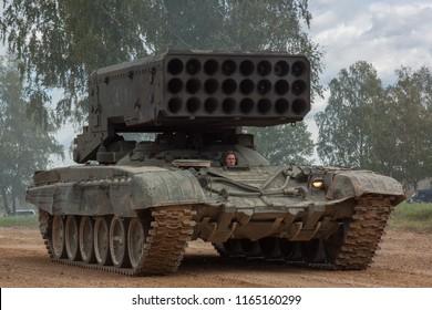 Alabino.Russian Federation - 08.25.2016: Heavy Flamethrower System on a dirt road