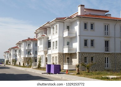 Alacati apartment street view in Cesme, Izmir. Alacati Town is populer historical tourist destination in Turkey.