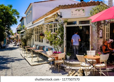 ALACATI - MAY 31 : Colorful streets view in Alacati Village is popular destination for traveling and vacation on May 31, 2018 in Izmir, Turkey.