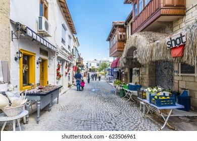 Alacati, Turkey - April 19, 2017 : Colorful streets view in Alacati Village. Alacati is populer tourist destination in the Turkey.
