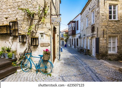 Alacati, Turkey - April 19, 2017 : Colorful streets view in Alacati Village. Alacati is populer tourist destination in the Turkey.