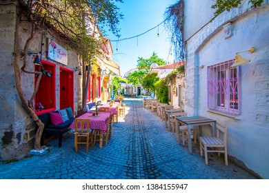 Alacati, Turkey - April 29, 2019 : Alacati street view in Alacati Town. Alacati is populer historical tourist destination in Turkey.