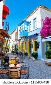 Alacati, Turkey - August 01, 2018 : Alacati street view in Alacati Town. Alacati - izmir, Turkey