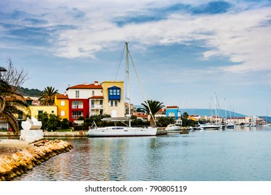 Alacati, Turkey - January 09, 2018 : Colorful Alacati Port Houses view in Cesme Town. Alacati is populer tourist destination in Turkey