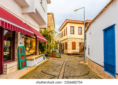 Alacati, Turkey - January 16, 2018 : Alacati Town street view. Alacati is populer tourist destination in Turkey.