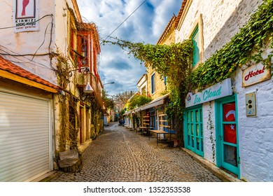 Alacati, Turkey - January 16, 2018 : Alacati street view. Alacati is populer tourist destination in Turkey.