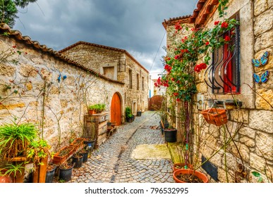 Alacati, Turkey - January 16, 2018 : Old Houses view in historical Alacati Town. Alacati is populer tourist destination in Turkey.