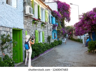 Alacati, Turkey - June 18, 2018 : Alacati street view in Alacati Town. Alacati - izmir, Turkey