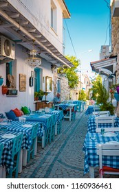 Alacati, Turkey June 2018, street view in Alacati Town popular historical tourist destination in Turkey with colorful restaurants and store`s