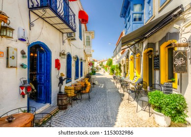 Alacati, Turkey - May 22, 2018 : Alacati street view in Alacati Town. Alacati is populer historical tourist destination in Turkey.