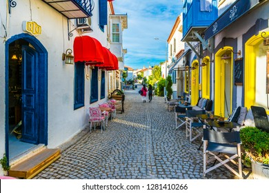Alacati, Turkey - October 18, 2017 : Alacati street view in Alacati Town. Alacati is populer historical tourist destination in Turkey.