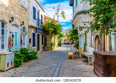 Alacati, Turkey - October 18, 2017 : Alacati street view in Alacati Town. Alacati is populer historical tourist destination in Turkey.