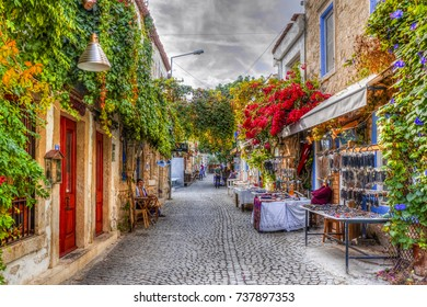 Alacati, Turkey - October 18, 2017 : Alacati street view in Alacati Town. Alacati is populer historical tourist destination in Turkey. ( HDR shot )