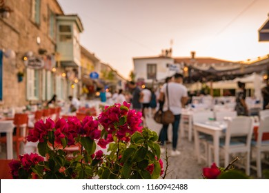 Alacati, Turkey street view in Alacati Town popular historical tourist destination in Turkey.