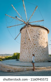 Alacati, Turkey street view in Alacati Town popular historical tourist destination in Turkey. old windmill at town