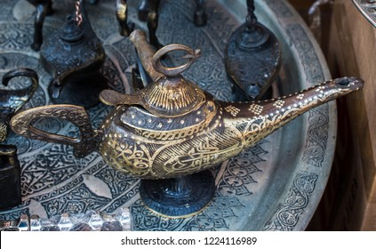 Aladdin lamp of wishes in metal with patterns  in view
