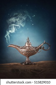 Aladdin magic lamp with smoke