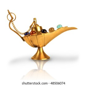 Aladdin's magic lamp with pearls isolated on white