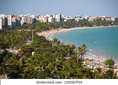 Maceió, Alagoas / Brazil - 09/10/2015: Pajuçara Beach an coconut grove