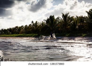 ALAGOAS, BRAZIL - Jan 25th, 2019: São Miguel dos Milagres, Alagoas, Brazil. A beach called Toque (praia do toque). Fantastic landscape, great beach with clear water. Paradise beach, blue sky.