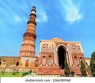 Alai Darwaza and Qutub Minar at the Qutb Complex in Delhi. A UNESCO world heritage site in India