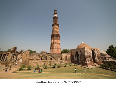 ALAI MINAR, DELHI - OCTOBER 11, 2015: Alai Minar is an unfinished tower in the Qutub Complex, started by A. Khilji. He decided to construct a tower which would be twice the height of the Qutub Minar.