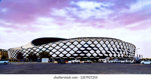 Alain, Abu Dhabi / UAE - April 1 2019: Hazza stadium in Al ain city