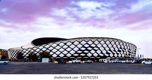 Alain, Abu Dhabi / UAE - April 1 2019: Hazza stadium in Al ain city