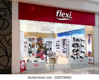 Alajuela, Costa Rica - October 04, 2018:  Flexi shoe store at City Mall in Alajuela near San Jose, Costa Rica.