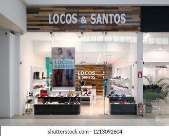 Alajuela, Costa Rica - October 04, 2018: Locos & Santos store at City Mall in Alajuela near San Jose, Costa Rica, a shoe store.
