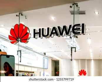 Alajuela, Costa Rica - October 04, 2018: Sign of Huawei store at City Mall in Alajuela near San Jose, Costa Rica. Huawei is Chinese networking, telecommunications equipment, and services company.