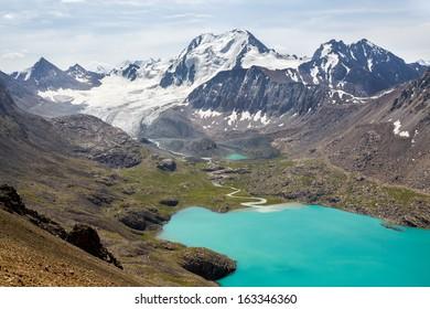 Ala-Kul lake in Tien Shan mountains, Kyrgyzstan