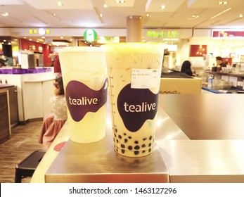 """""""Shah Alam, Malaysia- Circa July, 2019:Unhealthy and healthy Tealive drink with famous milk bubble tea insight."""""""
