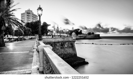 Alameda Apodaca Promenade Cadiz Spain Black and White