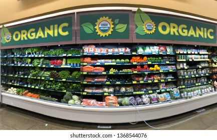 Alameda, CA - April 07, 2019: Organic produce in a grocery store. Organic farming features practices that cycle resources, promote ecological balance,  and conserve biodiversity.