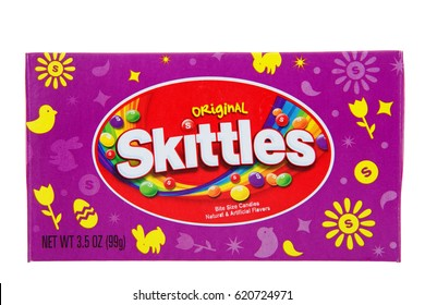 Alameda, CA - April 10, 2017: One box of original Skittles, Easter special edition. Bite size candies, natural and artificial flavors.