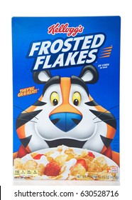 Alameda, CA - April 27, 2017: Box of Kellogg's brand Frosted Flakes cereal. Original flavor. Kellogg's is an American food manufacturer founded in 1906